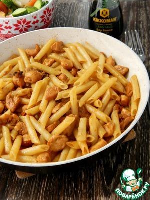 Рецепт Паста с курицей, медом и соевым соусом