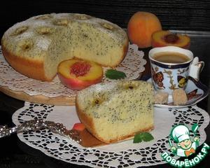Рецепт Двухслойный пирог с цветами из персиков