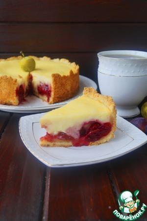 Рецепт Пирог с творогом и сливой