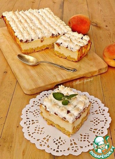 Пирог с персиками с пошагово