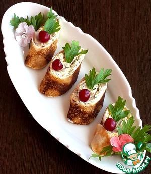 Рецепт Блинные рулетики с грибами и сыром