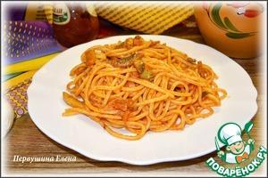 """Рецепт Паста с грибами и оливками с соусом """"Сацебели"""""""