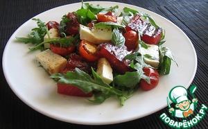 Рецепт Салат с жареным арбузом, брынзой, помидорами