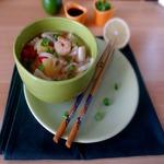 Суп с морским коктейлем и ананасом