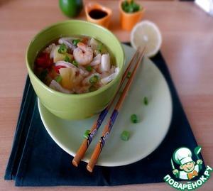 Рецепт Суп с морским коктейлем и ананасом