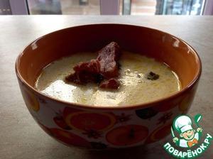 Рецепт Сырный суп с копчеными ребрышками