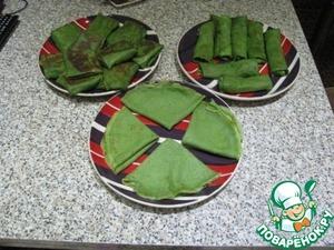 Рецепт Зеленые блины с начинкой из брынзы с чесноком