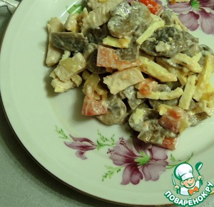 Рецепт Салат из запечённой курицы, шампиньонов и помидоров