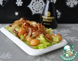 Рецепт Салат из морского гребешка и бекона