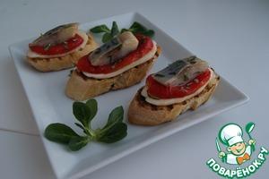 Рецепт Брускетта с печеным перцем и кусочками сельди