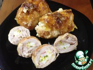 Рецепт Мясные рулетики с яичной начинкой с соусом бешамель под сырной корочкой