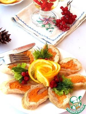 Рецепт Куриный рулет с апельсиново-морковной начинкой