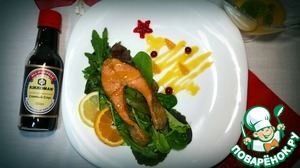 Рецепт Стейк из форели в мандариновом соусе
