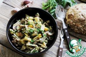 Рецепт Теплый салат из шампиньонов с айвой
