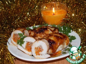 Рецепт Куриные рулетики, фаршированные гречкой и морковью