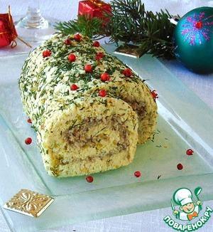 Рецепт Мясной рождественский рулет без выпечки