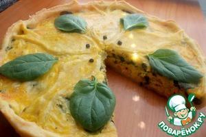 Рецепт Киш с семгой и двумя видами сыра