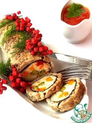 Рецепт Диетический мясной рулет с рисом и овощами