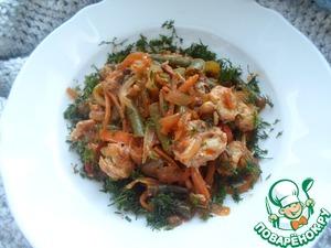 Рецепт Скумбрия с овощами в томатно-соевом соусе