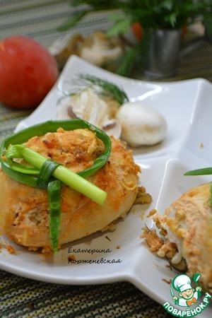 Рецепт Мешочки из курицы с гречкой и шампиньонами