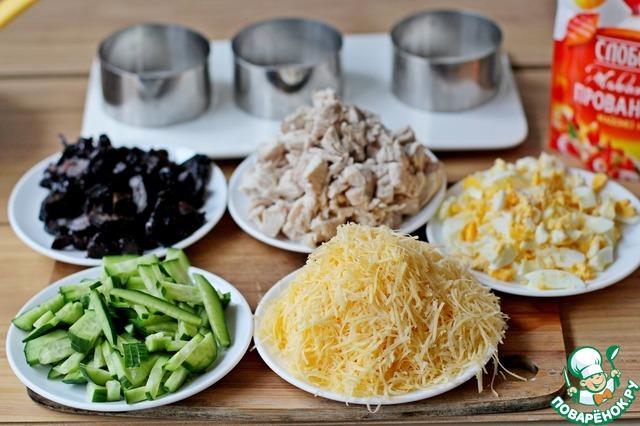 Салаты с рисом и мясом
