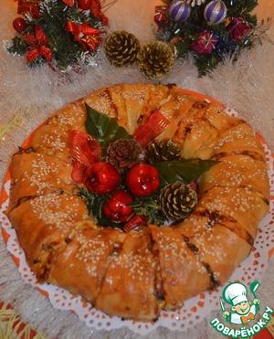 """Рецепт: Пирог-венок из слоёного теста """"Куриный"""""""