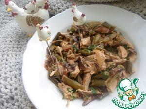 Рецепт Курица тушеная с фасолью и грибами