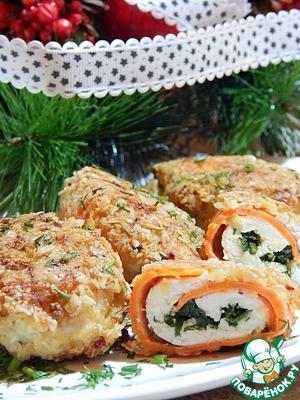 Рецепт Аппетитные куриные рулетики в панировке