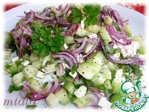 Рецепт Огуречный салат с фетой и фиолетовым луком