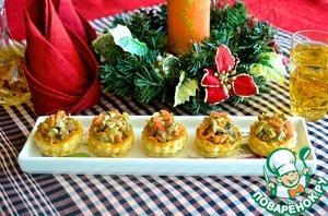 Рецепт Буше с теплым салатом из говядины и моркови