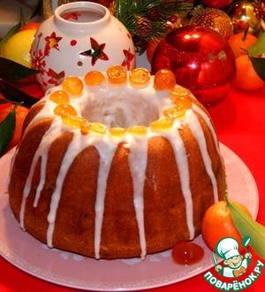 Рецепт Мандариновый кекс с шоколадно-ореховой прослойкой