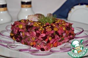 Рецепт Винегрет с сельдью и маринованным луком