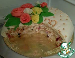 Рецепт Нежный тортик с манной кашей и сливками