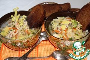 Рецепт Куриный суп с рисом и кольраби