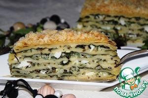 Рецепт Слоеный пирог с рисом и шпинатом