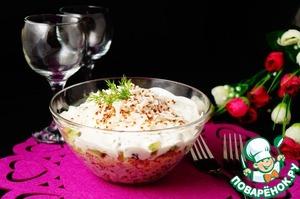 Рецепт Салат с рисом, киноа и печенью трески