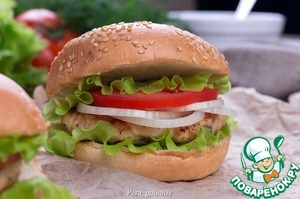 Рецепт Чикенбургер с рисом и грибами