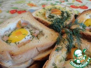 Рецепт Горячие тосты с грибами и яйцом