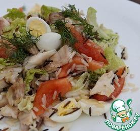 Рецепт Свежий салат с рыбой и овощами