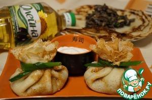 Рецепт Блины с начинкой из лёгкого и лесных грибов