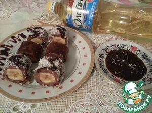 """Рецепт Блинные """"Роллы"""" с шоколадным соусом"""