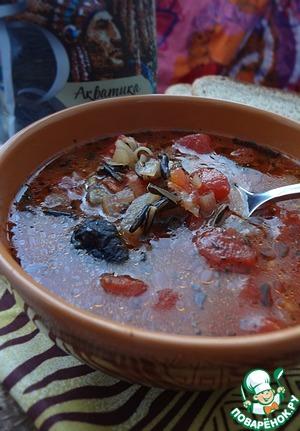 Рецепт Грибной суп с диким рисом и помидорами