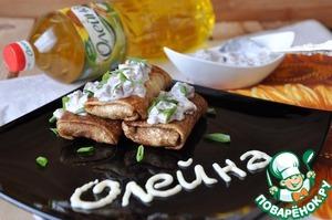 Рецепт Блинчики с картофельным пюре и селедочным соусом