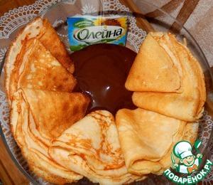 Рецепт Кефирные блины с шоколадным соусом