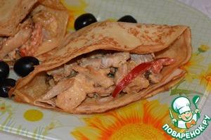 Рецепт Блинчики с курицей и консервированными овощами