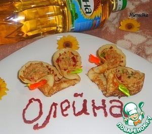 Рецепт Блины с курицей и болгарским перцем