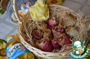 Рецепт Закусочные розы из блинов со шпинатом