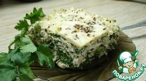 Пирог из лаваша с курицей и зеленью