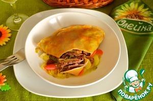 Рецепт Утка конфи в блинах с овощным рагу
