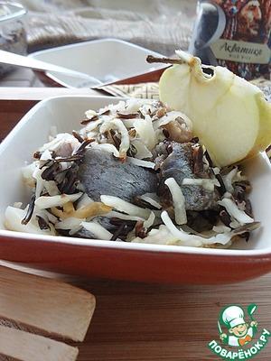 Рецепт Печеная малосольная сельдь с капустой и рисом